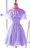 Lavender Chiffon Off Shoulder Short Bridesmaid Dresses, Cute Homecoming Dress, Lovely Party Dresses cg968