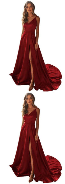 Satin Burgundy Prom Dress with Split, A-Line V-Neck Long Prom Dresses   cg9696