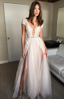 Cap Sleeve A-line Lace Tulle Long Backless Prom Dress Slit Evening Dress  cg969