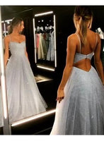 Gorgeous Spaghetti-Strap Long Prom Dresses 2019 Sequins Icy Blue Beaded Evening Gowns cg971