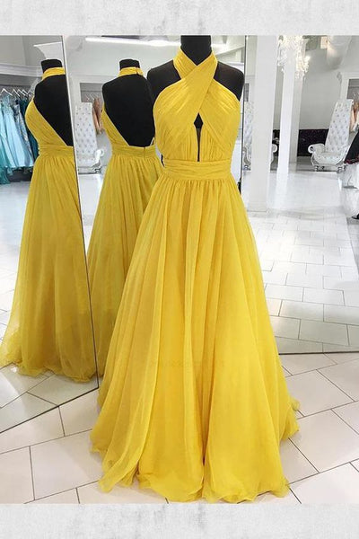 Yellow Prom Dress, Long Evening Dress,prom Dresses cg972