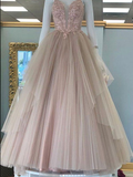 A Line Criss Cross Straps Back Pink Prom Dress With Appliques cg974