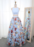Beautiful Pretty Two Piece Round Neck Blue Floral Organza Prom Dress cg976