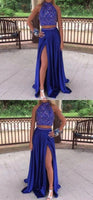 Royal Blue Prom Dress Slit Skirt, Prom Dresses, Evening Gown,Graduation School Party Gown, Winter Formal Dress cg979