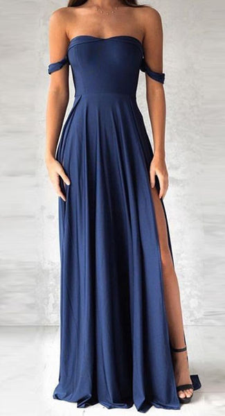 Sexy Off-Shoulder Prom Dress, Navy Blue Chiffon Prom Dress, Slit Side Prom Dress  cg983