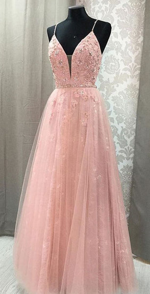 Pink Prom Dress,Tulle Prom Gown,Appliques Prom Dress,lace Prom Gown  cg986
