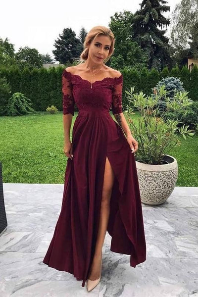 Cheap Off Shoulder Burgundy Mid-Sleeve Side Slit Long Prom Dress cg988