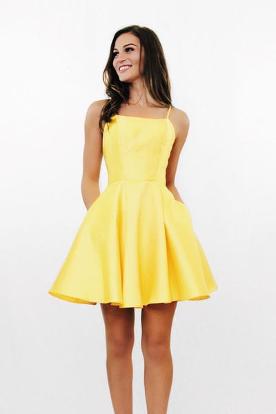 Short Yellow  Dresses Homecoming Dresses with Pockets cg992