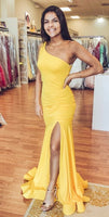 Elegant One Shoulder Mermaid Yellow Formal prom Dress cg995