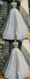 Sparkly Ivory Sequin Tylle Embroidery Applique V-Neck Ball Gown Prom Dresses cg997