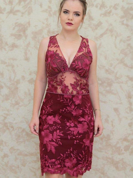 Dark Red Lace Beading Sheath V-Neck Sleeveless Homecoming Dresses cg999
