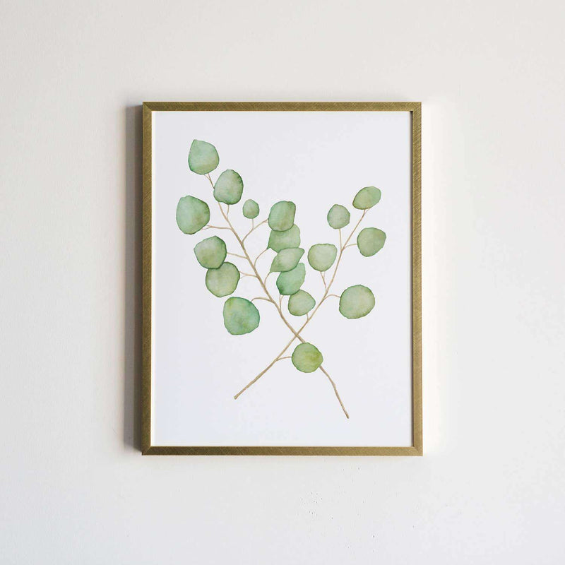 Watercolor Eucalyptus Plant Print. 8X10