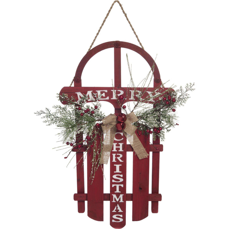 Wood Christmas Merry Sled Decor