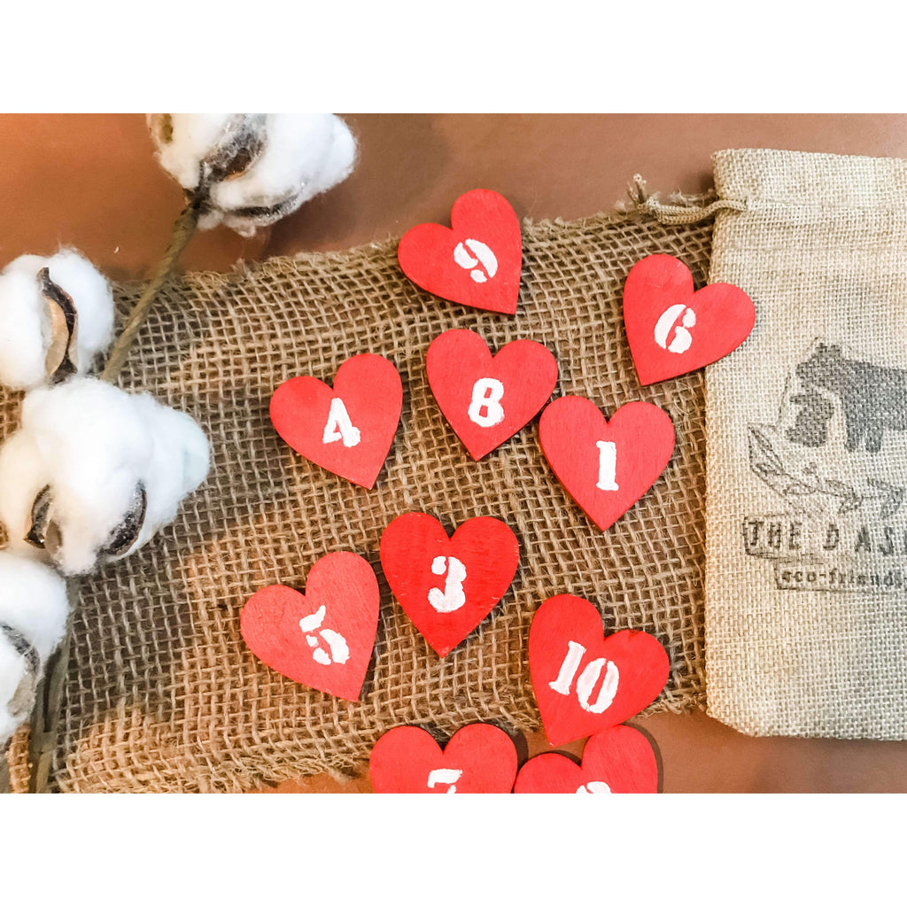 Wooden  number hearts