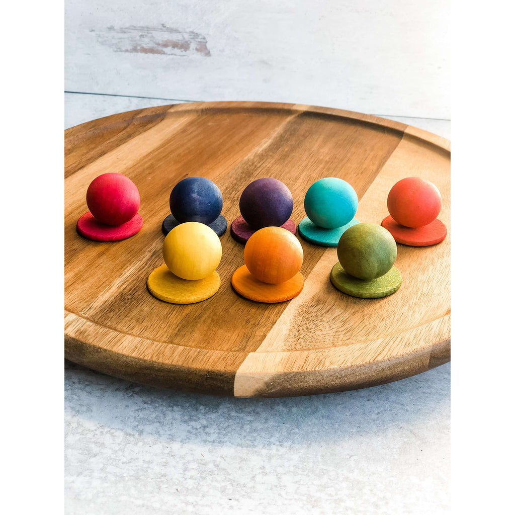 Color Wood Marbles and Discs