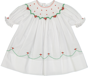 Short Sleeve Holiday Pearl Flower Bishop Dress