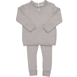 Rolled Collar Ribbed Knit Set