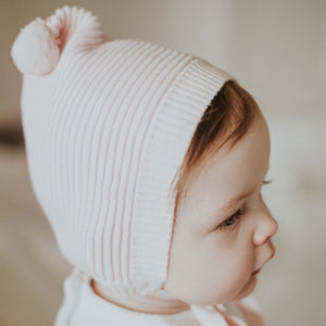 Pompom Ribbed Knit Bonnet