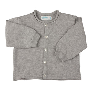 Grey Rolled Edge Knit Cardigan