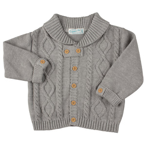 Wooden Button Cable Knit Cardigan