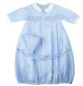 Preemie Teddy Smocked Take Me Home Gown with Hat