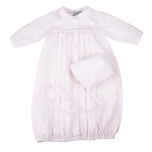 Preemie Girls Dot Embroidered Take Me Home Gown with Hat
