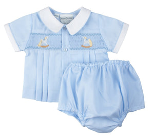 Preemie Rocking Horse Smocked Diaper Set