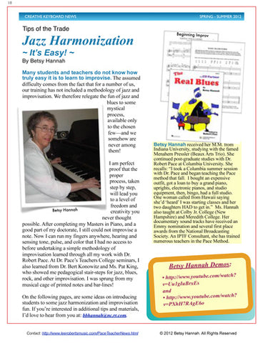 Read: Jazz Harmonization - It's Easy, By Betsy Hannah