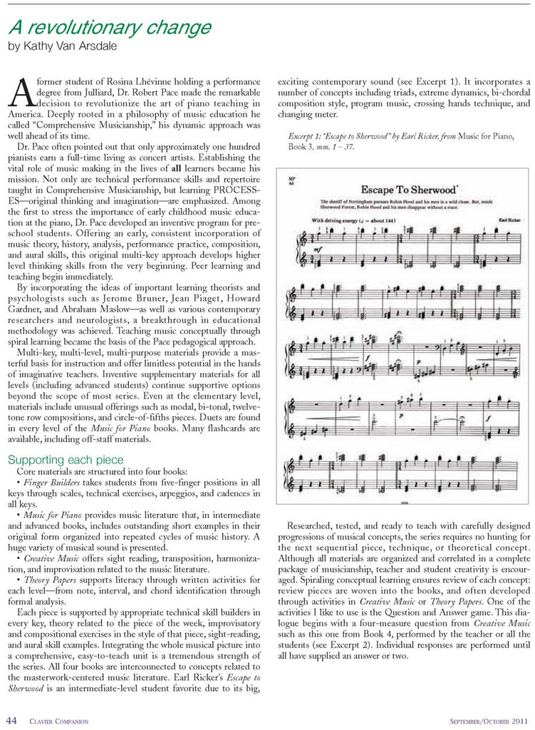 A Revolutionary Change, By Kathy VanArsdale, In Clavier Companion Magazine: September/October, 2011.