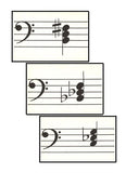 Minor Triad Sample Cards - Bass Clef