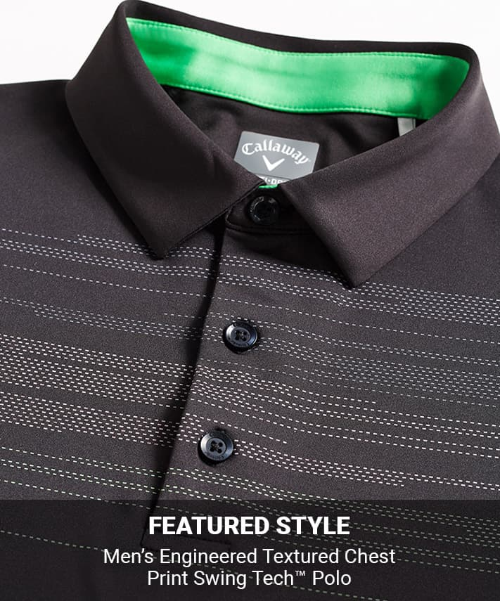 Men's Engineered Textured Chest Print Swing Tech Polo