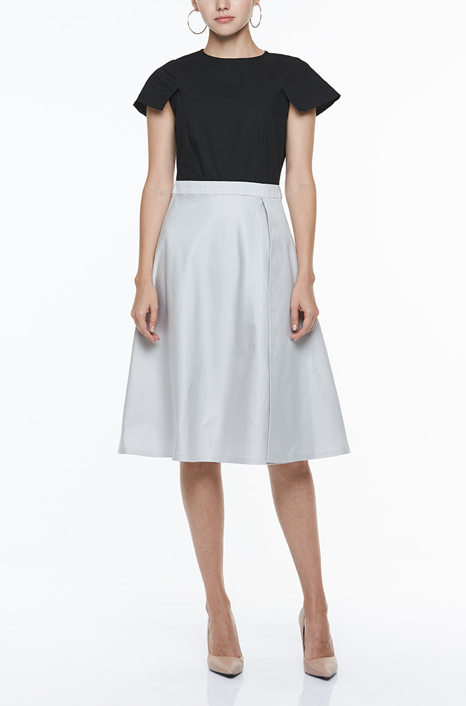 CREW NECK DRESS WITH CONTRAST FLARE SKIRT