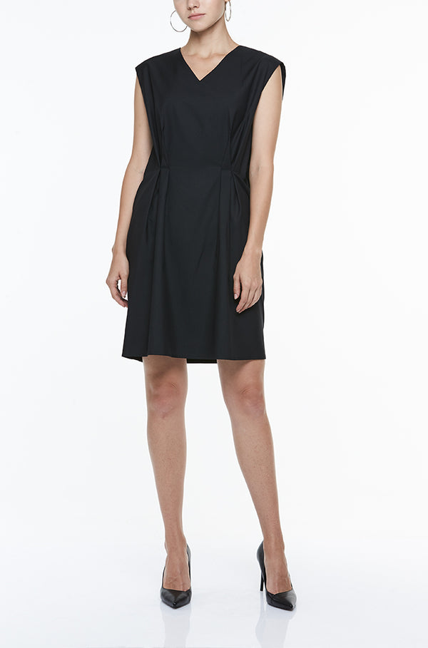 V-NECK DRESS WITH FRONT PLEATS