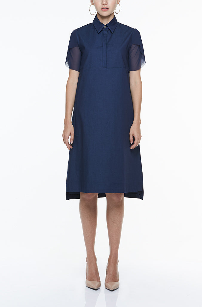 SHIRT DRESS WITH CHIFFON SLEEVES - BLUE