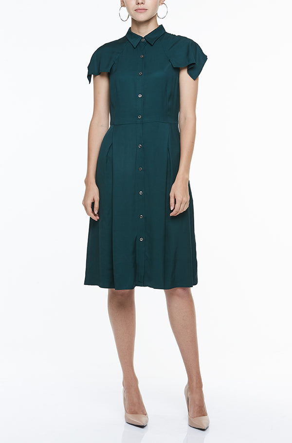 SHIRT DRESS WITH DRAPED SLEEVES