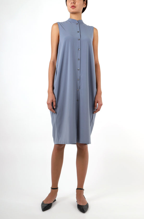COCOON SHIRT DRESS -  MISTY BLUE