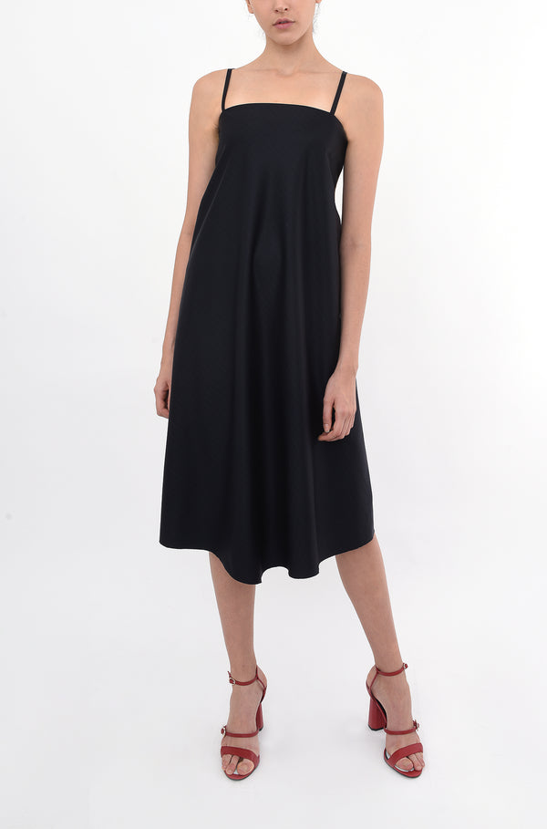 FULL CIRCLE SHOULDER STRAP SWING DRESS