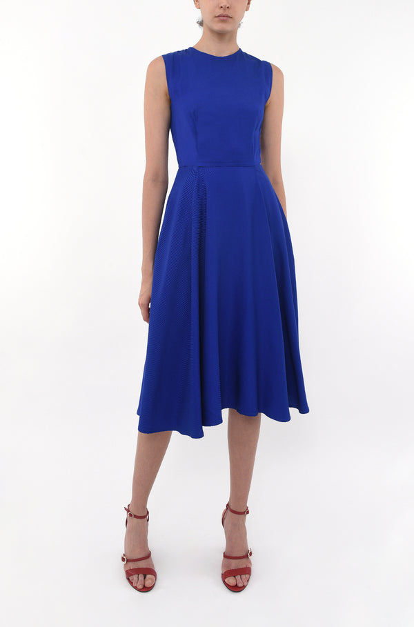 CREW NECK FITTED SWING DRESS - COBALT