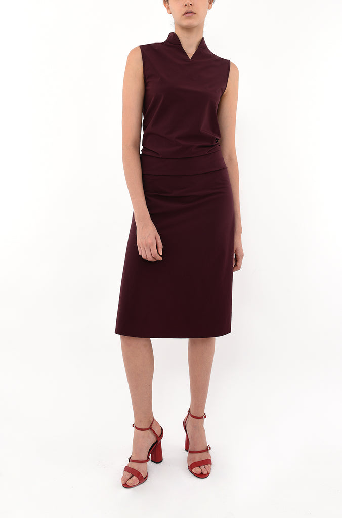 NU-MANDARIN COLLAR DRAPED FRONT DRESS