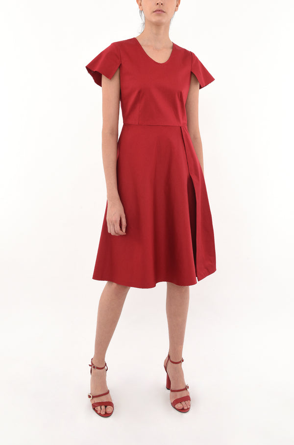 FIT-FLARE DRESS WITH CUT-AWAY SLEEVES