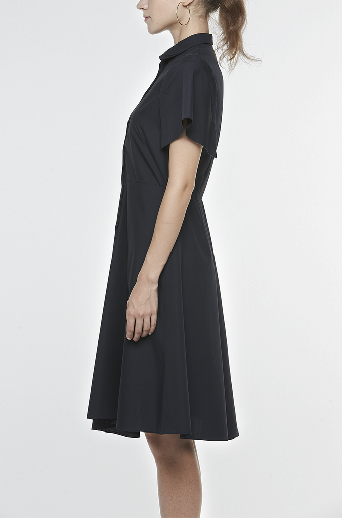 FITTED SHIRT DRESS WITH CUT-AWAY SLEEVES AND ASYMMETRIC SKIRT