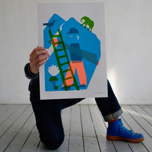 Screenprint, Constructionist with elephant