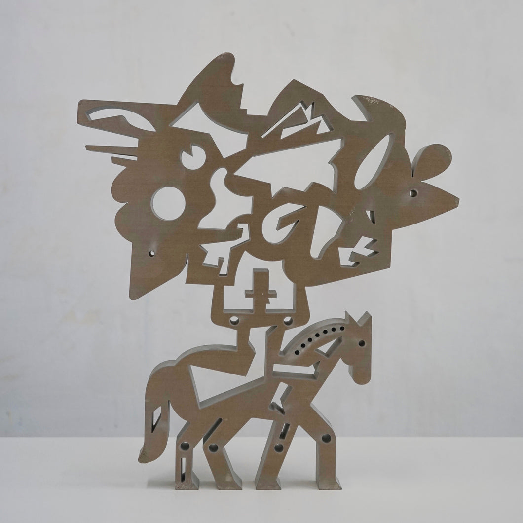 Aluminium sculpture, Rider on horse