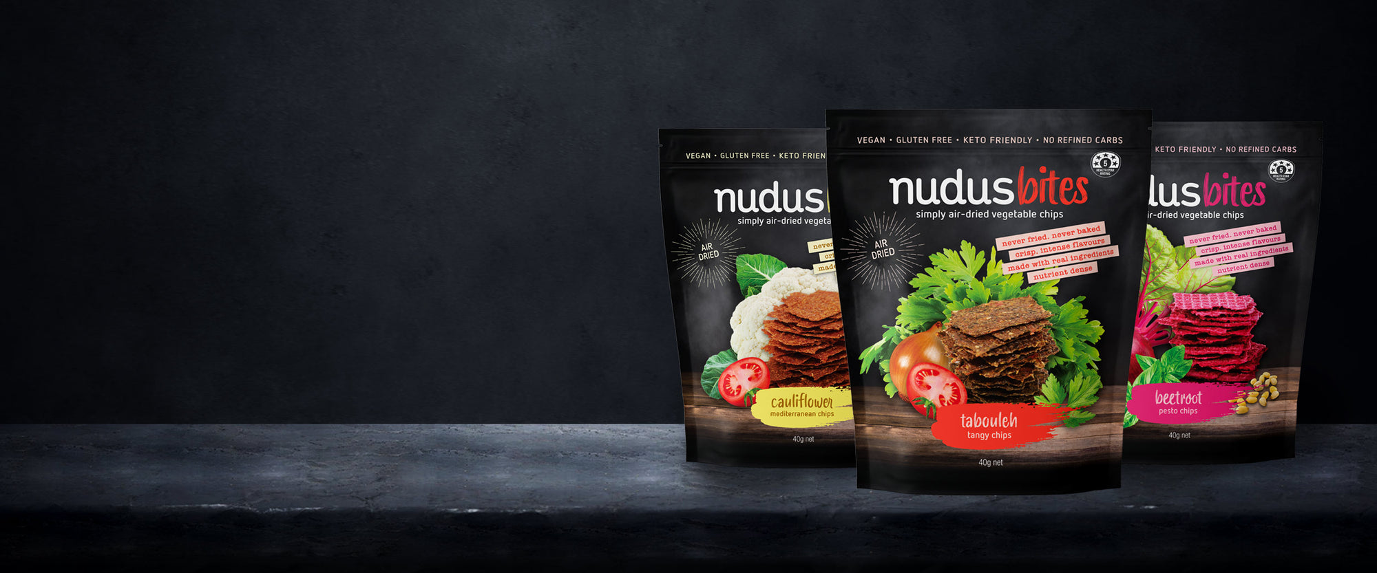 <span>Nudus bites</span>Air Dried Salad Chips.