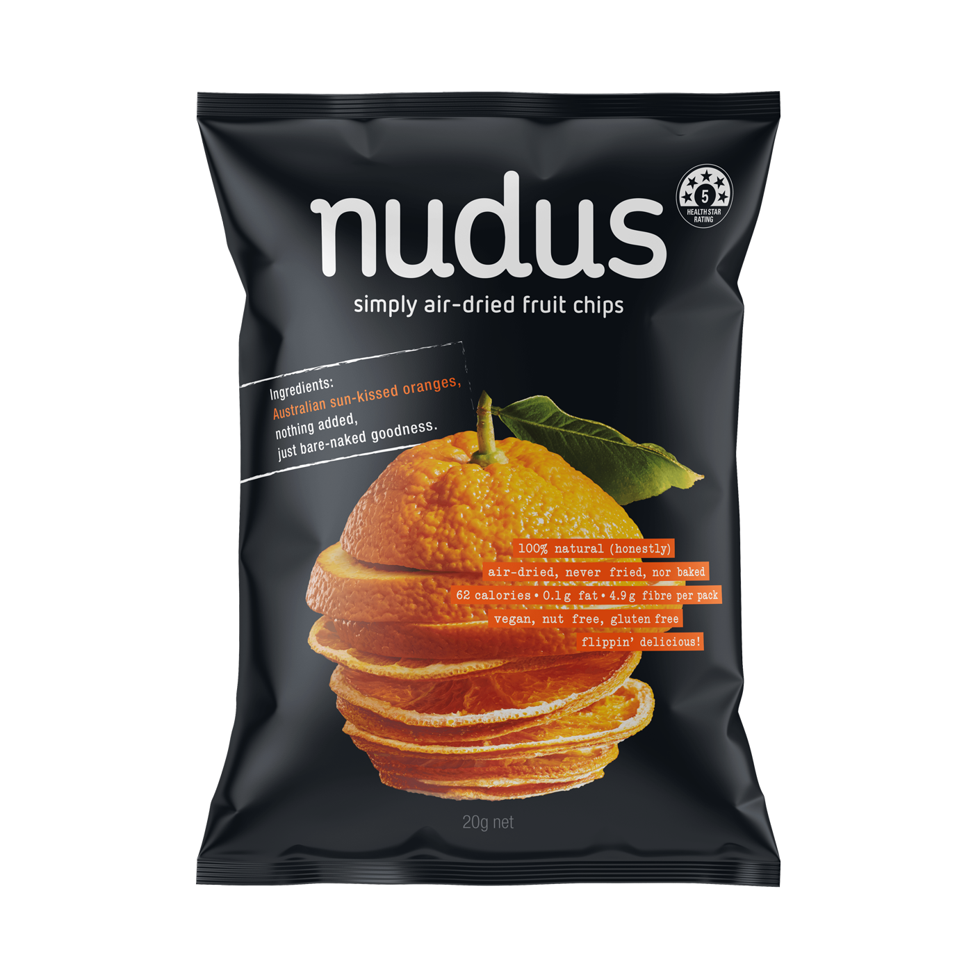 orange fruit chips - 12 bags ($2.75 / 20g bag)