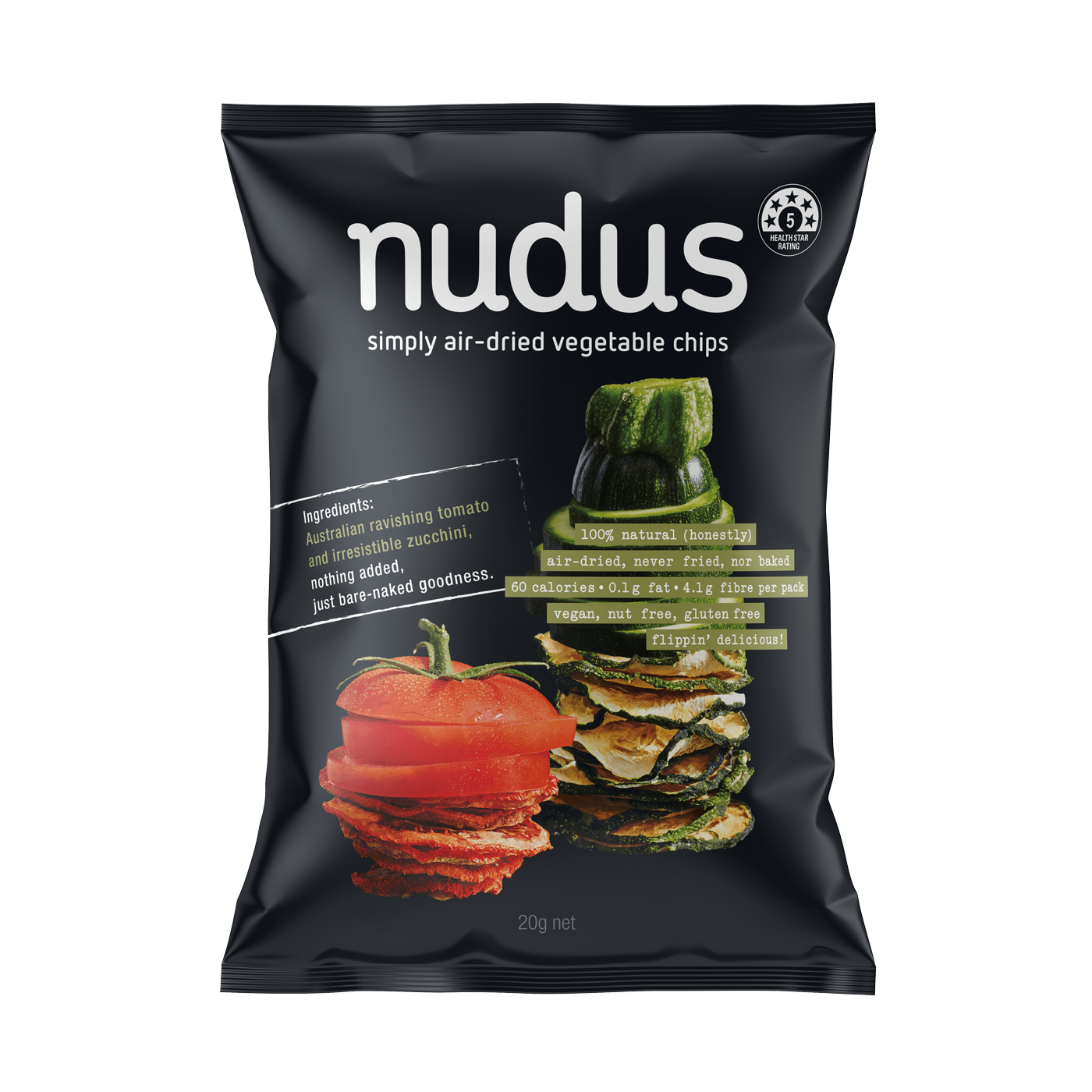 zucchini & tomato vegetable chips - 12 bags ($2.75 / 20g bag)