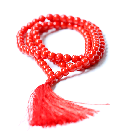 Orgonite Red Coral Japa Mala Stone Necklace