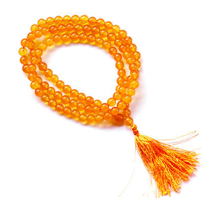 Orgonite Yellow Jade Japa Mala Stone Necklace