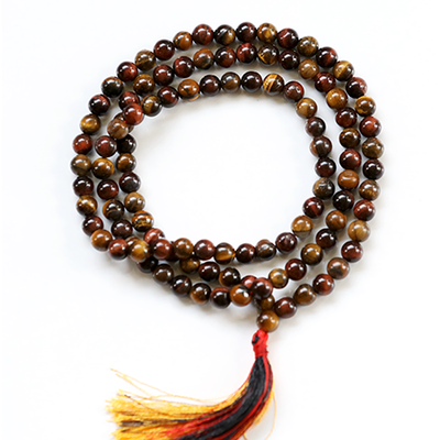 Orgonite Red Tiger-Eye Japa Mala Stone Necklace