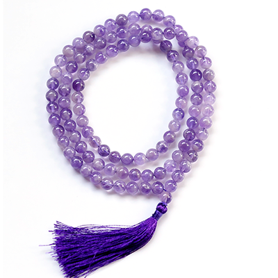 Orgonite Amethyst Crystal Japa Mala Stone Necklace